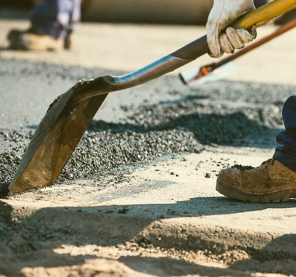 image of paving contractor at work